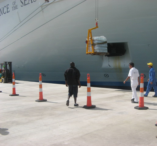 Haiti Relief Effort - Supplies being lowered from Independence of the Seas
