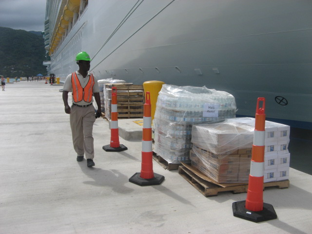 Haiti Relief Effort - Supplies arrive in Labadee from Independence of the Seas