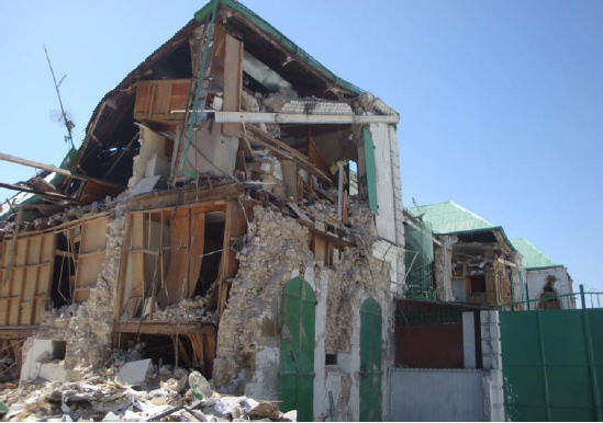 Destruction to a building in Haiti
