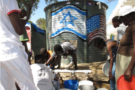 1,200 gallon water distribution tanks have been placed throughout the camps