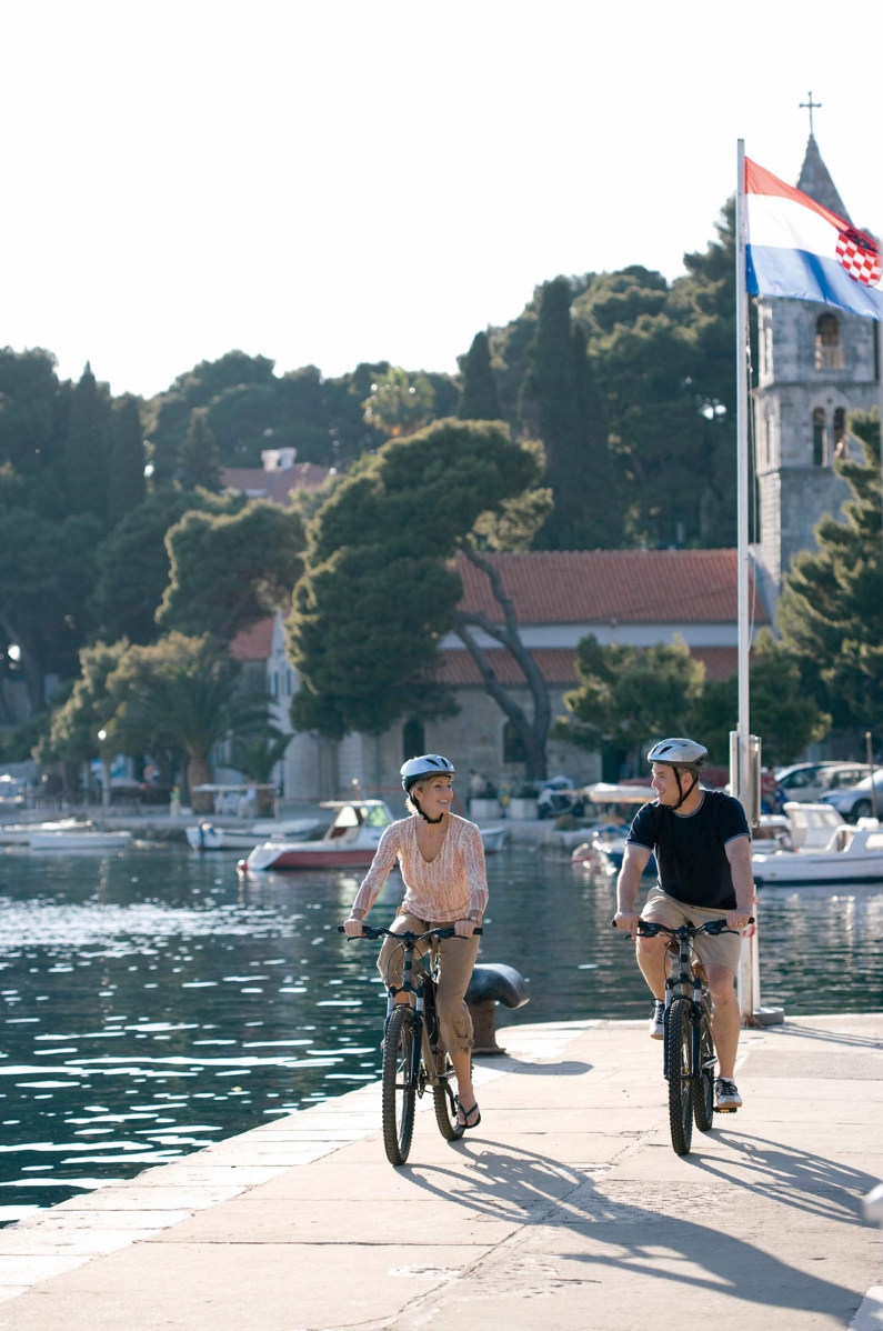 Couple Biking in Dubrovnik, Croatia