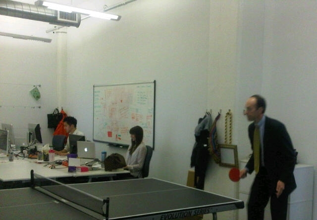 Adam Playing Table Tennis at his JWT Visit