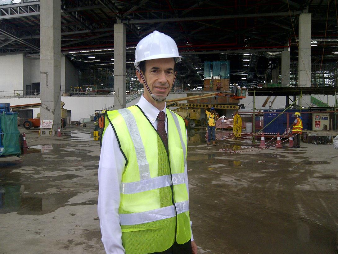Adam touring the construction at the Singapore terminal