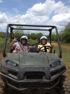 My Mom & Sister Taking a Dune Buggy Ride in Jamaica.